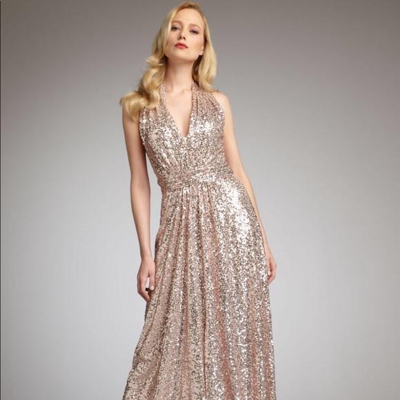 Badgley Mischka Dresses Belle V Neck Blush Sequin Gown Poshmark